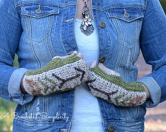 """Crochet Pattern: """"Boho Chic"""" Arrow Fingerless Gloves **Permission to Sell Finished Items INSTANT DOWNLOAD"""