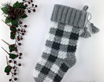 Crochet Pattern: Buffalo Plaid Christmas Stocking Crochet Stocking Pattern *PDF Instant Download*