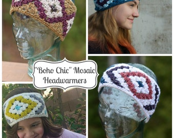"""Crochet Pattern: """"Boho Chic"""" Mosaic Headwarmers 2-in-1 **Permission to Sell Finished Items INSTANT DOWNLOAD"""