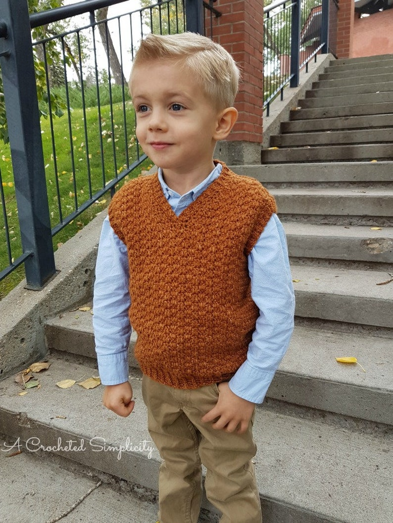 98dc474a1 Crochet Pattern  Summit Kids Sweater Vest Permission to sell