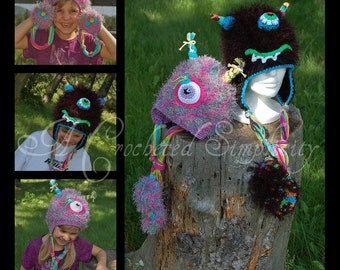 Crochet Pattern: Monster Mash Earflap  or Beanie Hat Newborn thru Adult, Permission To Sell Finished Items