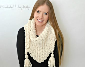 Crochet Pattern: Abella Triangular Scarf **Permission to Sell Finished Items INSTANT DOWNLOAD