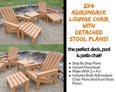 2 x 4 Adirondack Lounge Chair Plans With Detached Foot Stool!