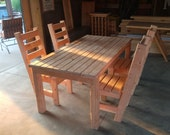 2 x 4 Patio-Porch Table & Chair Set Plans - Simple, Easy Plans For An Incredibly Inexpensive And Beautiful DIY Patio Table Made From 2x4's!