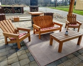 2x4 Outdoor Seating Bundle Plans - Plans For Adirondack Chair, Bench, Foot Stool, End Table, Coffee Table & Kids Chair
