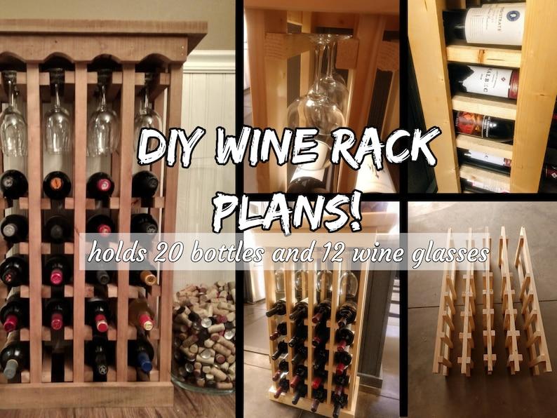 DIY Wine Rack Plans  20 Bottle 12 Wine Glass Rack image 1