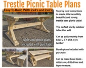 DIY Trestle Base Picnic Table Plans - Includes Bench Plans Too!