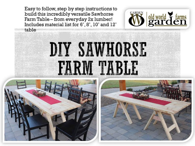 DIY Sawhorse Farm Table Plans  Made Easily From Inexpensive image 0