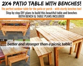 2 x4 Patio Table & Bench Plans - Both Plans Included!