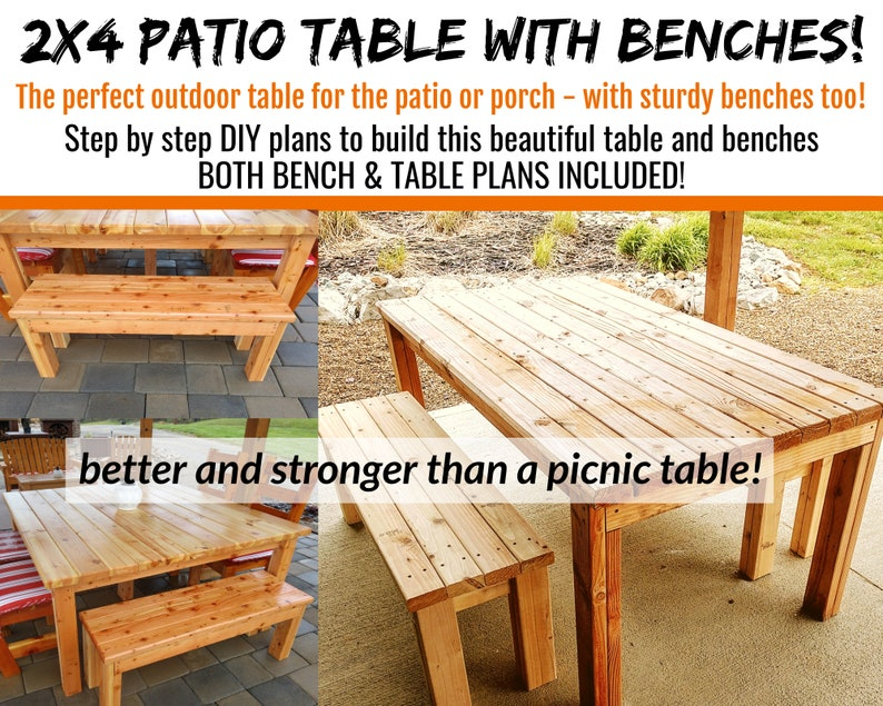 2 x4 Patio Table & Bench Plans  Both Plans Included image 0