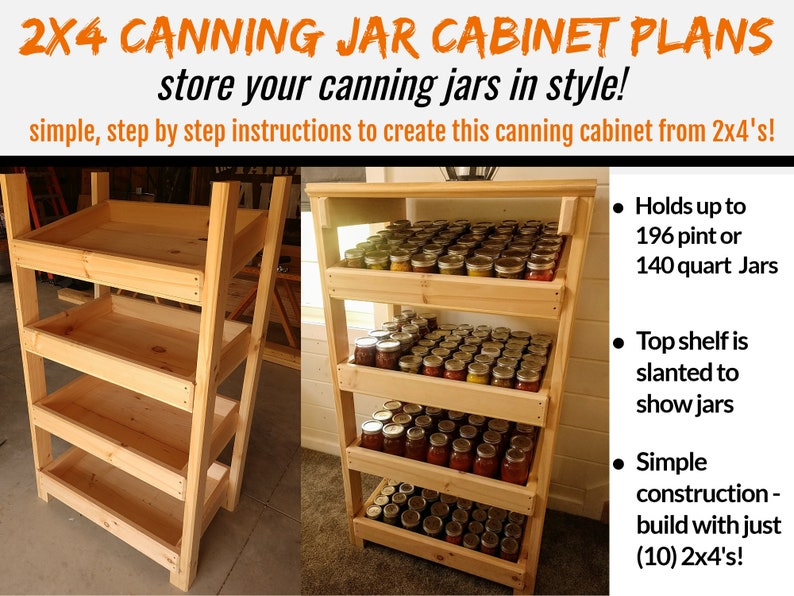 2 x 4 Canning Jar Cabinet Plans  Store & Display Your Canning image 0
