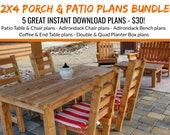 DIY2 x 4 Porch & Patio Furniture Bundle Plans!