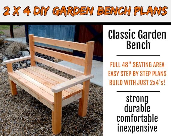 2 X 4 Classic Garden Park Bench Plans Etsy