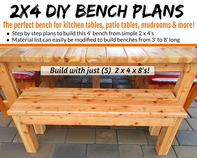 2x4 Bench Plans  The Perfect Bench For Tables & More image 0