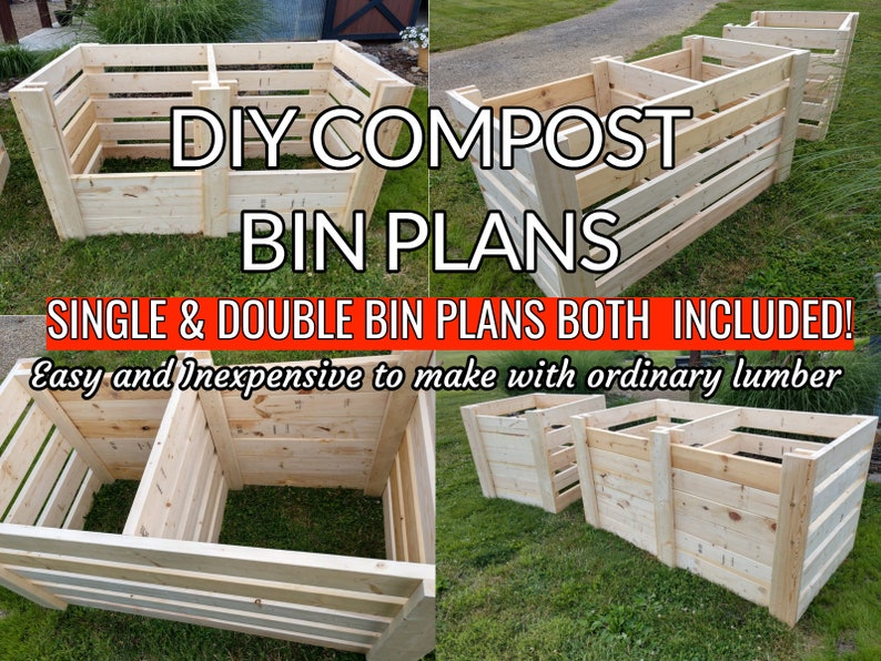 DIY Single & Double Compost Bin Plans With Adjustable Front image 0