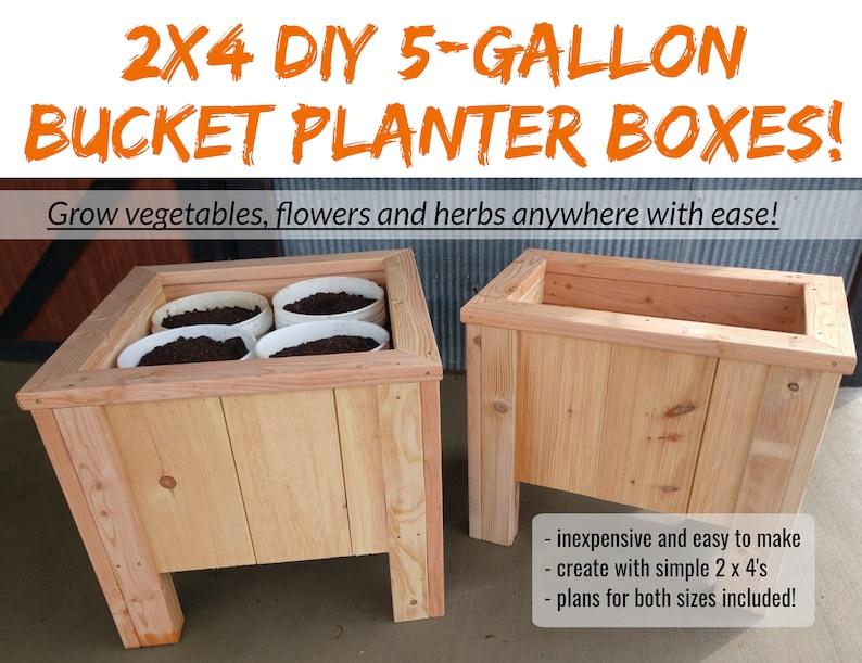 2 x 4  DIY 5-Gallon Bucket Planter Box Plans  An Incredible image 0