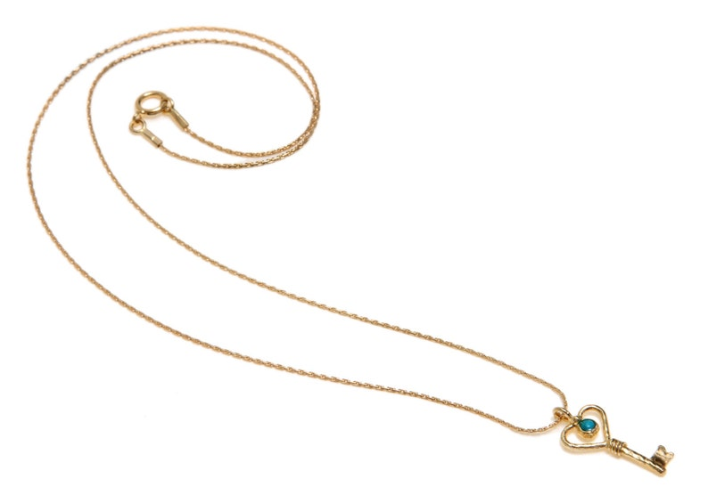 14K Gold Filled  14K Gold plated  or Silver necklace with heart key pendent Statement necklace with small heart key pendent