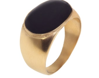 14K Gold Filled Large Oval statement ring inlaid with colorful enamel, 14K Gold plated large oval statement ring