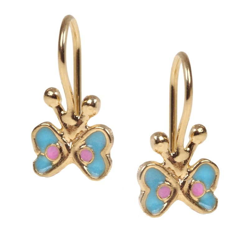14K Gold Filled Butterfly dangle Earrings inlaid with colorful Enamel 14K Gold plated Butterfly Earrings inlaid Enamel