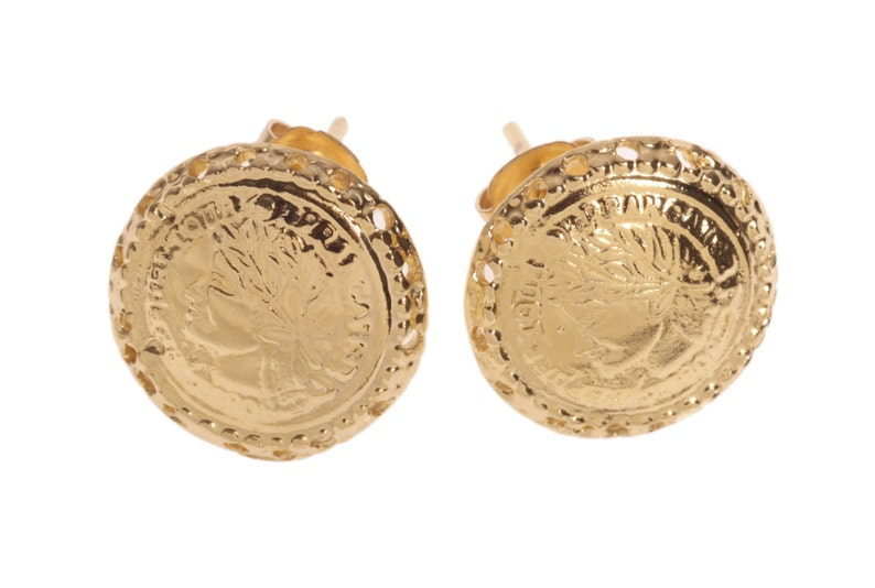 14 karat Gold Filled round Stud earrings with a French-woman imprint 14K Gold plated round Stud earrings with a French-woman imprint