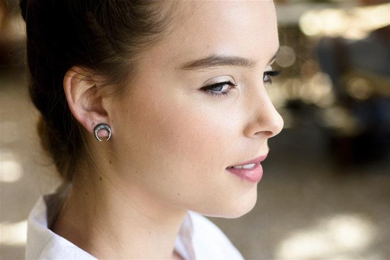 Horn Earrings Small Black Earrings Black Moon Earrings Tusk Oxidized Silver Stud Earrings Black Silver Earrings Crescent Moon Earrings