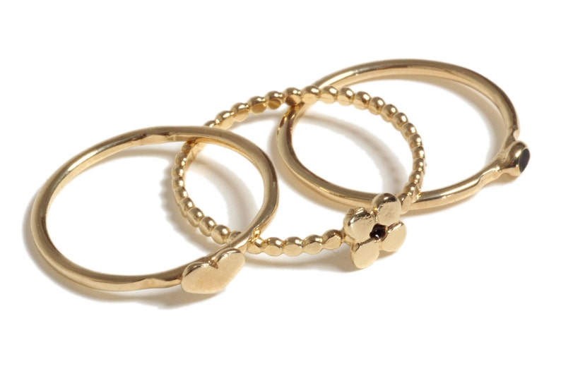 Thin Stackable Ring 14K Gold Plated OR Sterling Silver Dainty Ring Knuckle Ring Thin Ring Stacking Ring Midi Flower Ring Flower Ring