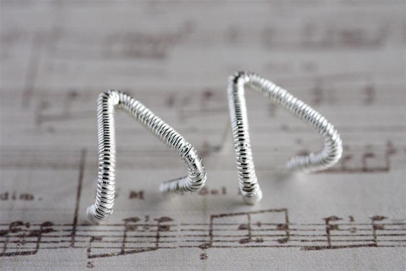 Drop Stud Earrings Triangle Earrings Sterling Silver Stud Earrings Small Stud Earrings Wire Wrapped Earrings Silver Statement Earrings