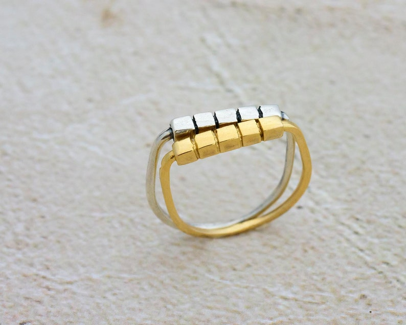 Geometric Ring Ring For Women 14K Gold Plated Stackable Ring Cubes Flat Top Stack Ring Gold Cube Stackable Ring Gold Stacking Ring
