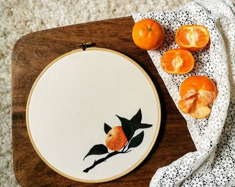 Hand embroidered hoop art - extra large orange illustration / botanical art / thread painting