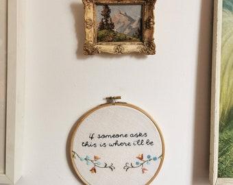 Hand embroidered large hoop art - Talking Heads lyrics