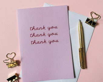 Thank you card - pink on pink - blank inside