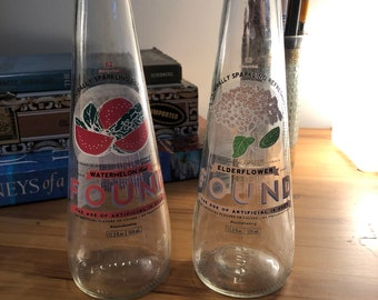 2 Glass Found Sparkling Water Bottles with 2 Dollar Shipping