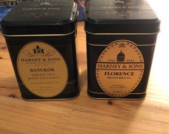 2 Empty Harney and Sons Metal Tea Tins with Original Lids and 2 Dollar Shipping