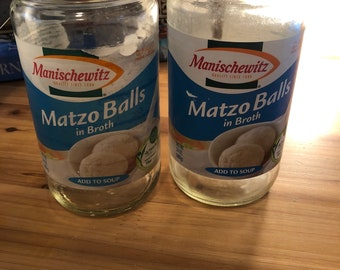 2 Glass Manischewitz Matzo Ball Soup Lidless Jars w/ 2 Dollar Shipping