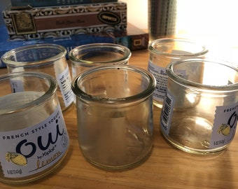 Six Empty Oui Yogurt Small Glass Containers w/ 2 Dollar Shipping