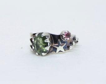 moldavite and tourmaline silver ring