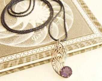lotus wing amethyst silver pendant