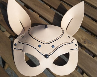 Leather art Steampunk bunny mask  Bronze with goggle//lens /& horse hair whiskers