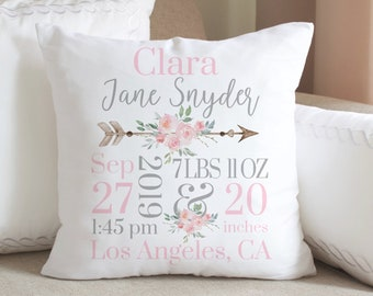 Monogrammed Pillow Sham Personalized Baby Gift Boudoir Pillow Monogram Baby Pillow Decorative Hemstitched Pillow best personalized Baby
