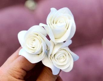 Bridal Hair Pins, SET Of 3 Hair Pins With Roses, Wedding Hair Pins, Bridal Hair Accessories, Wedding Headpiece, Bridal Hair Pieces, Hairpins