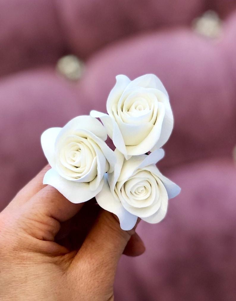 Bridal Hair Pins SET Of 3 Hair Pins With Roses Wedding Hair image 1