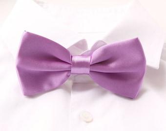 Groom's Bowtie, Light Purple Bowtie For The Groom, Men's Gift, Groom's Tie, Groom's Gift, Light Orchid Wedding Bowtie, Satin Bowtie