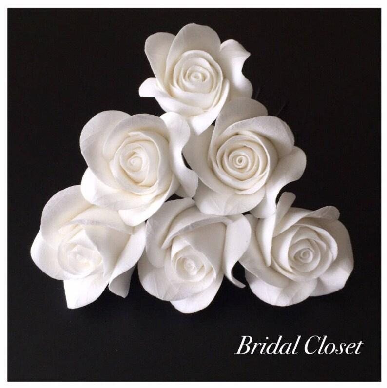 Bridal Hair Pins SET Of 6 Hair Pins With Roses Wedding Hair image 0