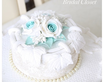 Flower Cake Topper, Wedding Cake Topper With Roses, Flower Wedding Cake Topper, Aqua Blue Topper, Floral Cake Decoration, Turquoise Topper