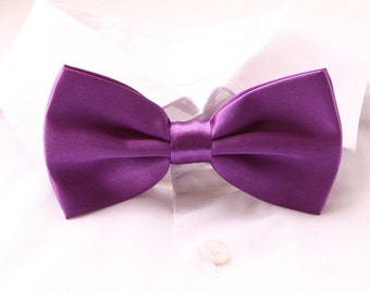 Groom's Bowtie, Purple Bowtie For The Groom, Men's Gift, Groom's Tie, Groom's Gift, Purple Wedding Bowtie, Satin Bowtie