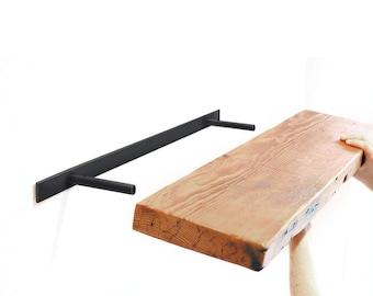 """Floating Shelf Brackets — Steel Heavy Duty Brackets from: 10"""" to 78"""" long HARDWARE ONLY —  Hidden Wall Shelf Bracket, made in USA"""