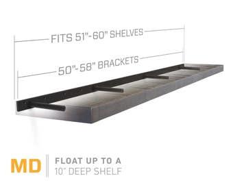 """Floating Shelf Bracket for 51"""" to 60"""" Long Floating Shelf - MEDIUM DUTY - Hardware Only (US Patent 9,861,198)"""