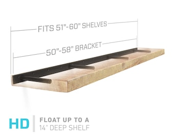 "Floating Shelf Bracket for 51"" to 60"" Long Floating Shelf - HEAVY DUTY - Hardware Only (US Patent 9,861,198 )"