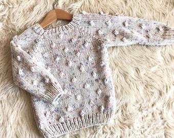 0f4468317 Popcorn sweater, confetti yarn, toddler gift, baby sweater, baby gift,  toddler popcorn sweater, girl sweater, boy sweater,