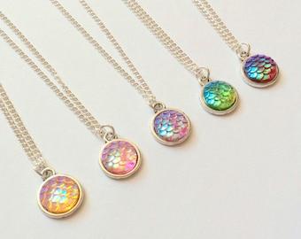 Mermaid Necklace, mermaid Scale necklace, dragon scale necklace, fairytale necklace, sailor necklace, nautical necklace, princess neclace